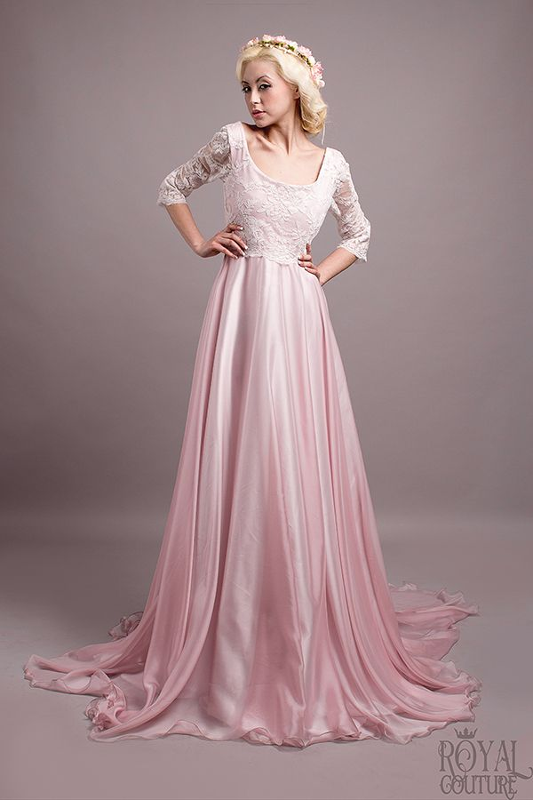 vestido de novia Margaret en gasa de seda rosa y encaje blanco de ...