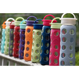 Color Blocking with interchangeable Glass Water Bottle Caps by LifeFactory.  Caps- $4.95 each. #mightynest