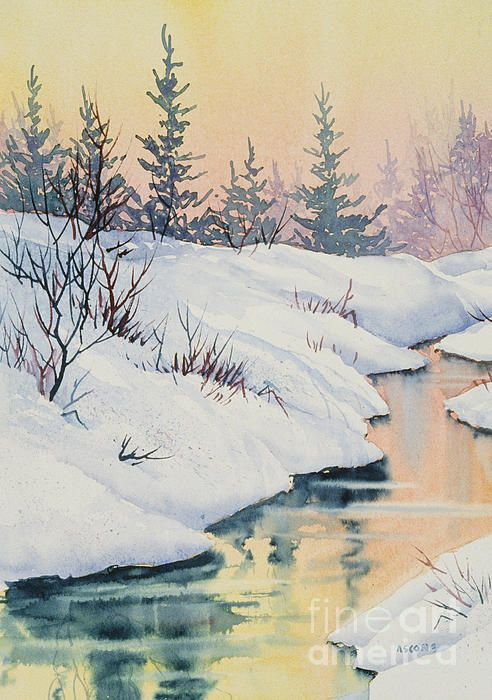Alaska Gold Winter Painting Landscape Paintings Watercolor