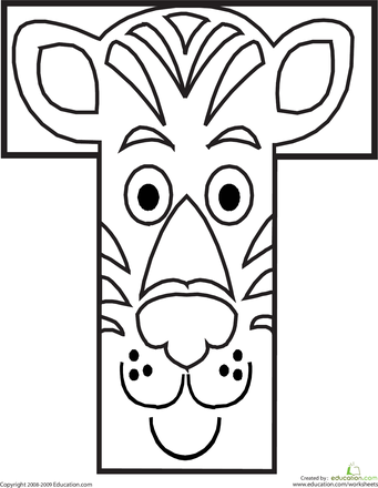 Letter T Coloring Page Worksheets Animal alphabet and Animal