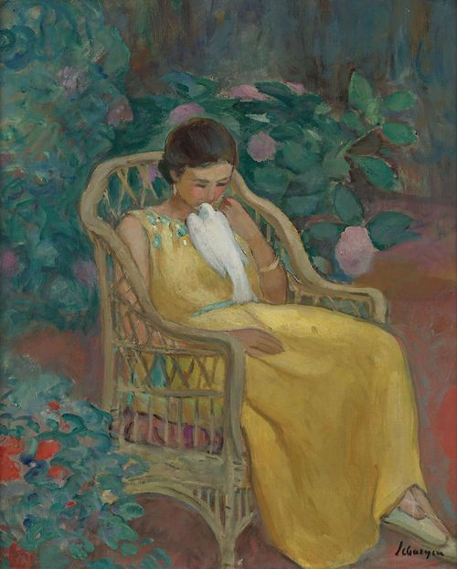 Young Woman with a Dove - Henri Lebasque