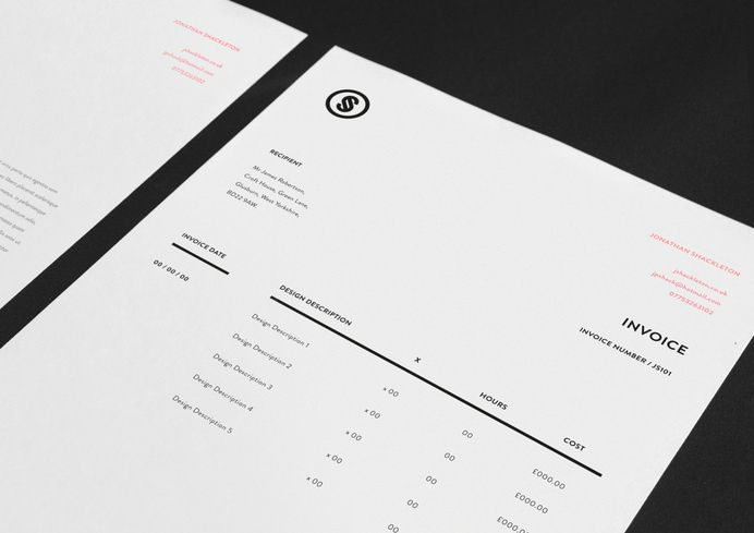 Jonathan Shackleton Http Jshackleton Co Uk Personal Identity And Self Promotion Consisting Of A Simp Invoice Design Invoice Layout Blog Design Inspiration