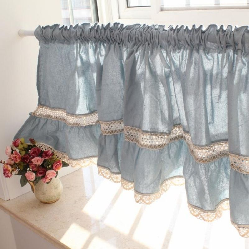 Free shipping blue lace juxtaposition hem short curtain coffee