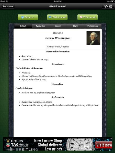iPad Project Resume Builder Resume builder, Resume