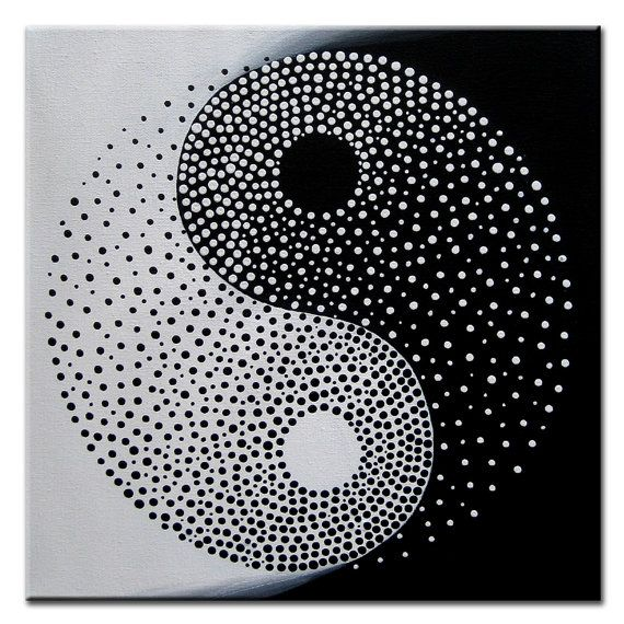 Yin yang original modern painting on canvas acrylic for Decoration murale yin yang