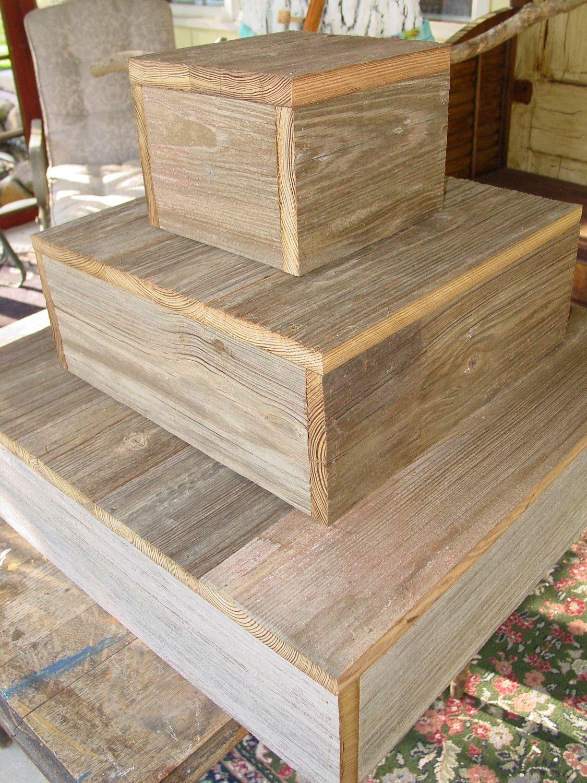 tier wood cake stand rustic wedding cupcake box plate barn wood