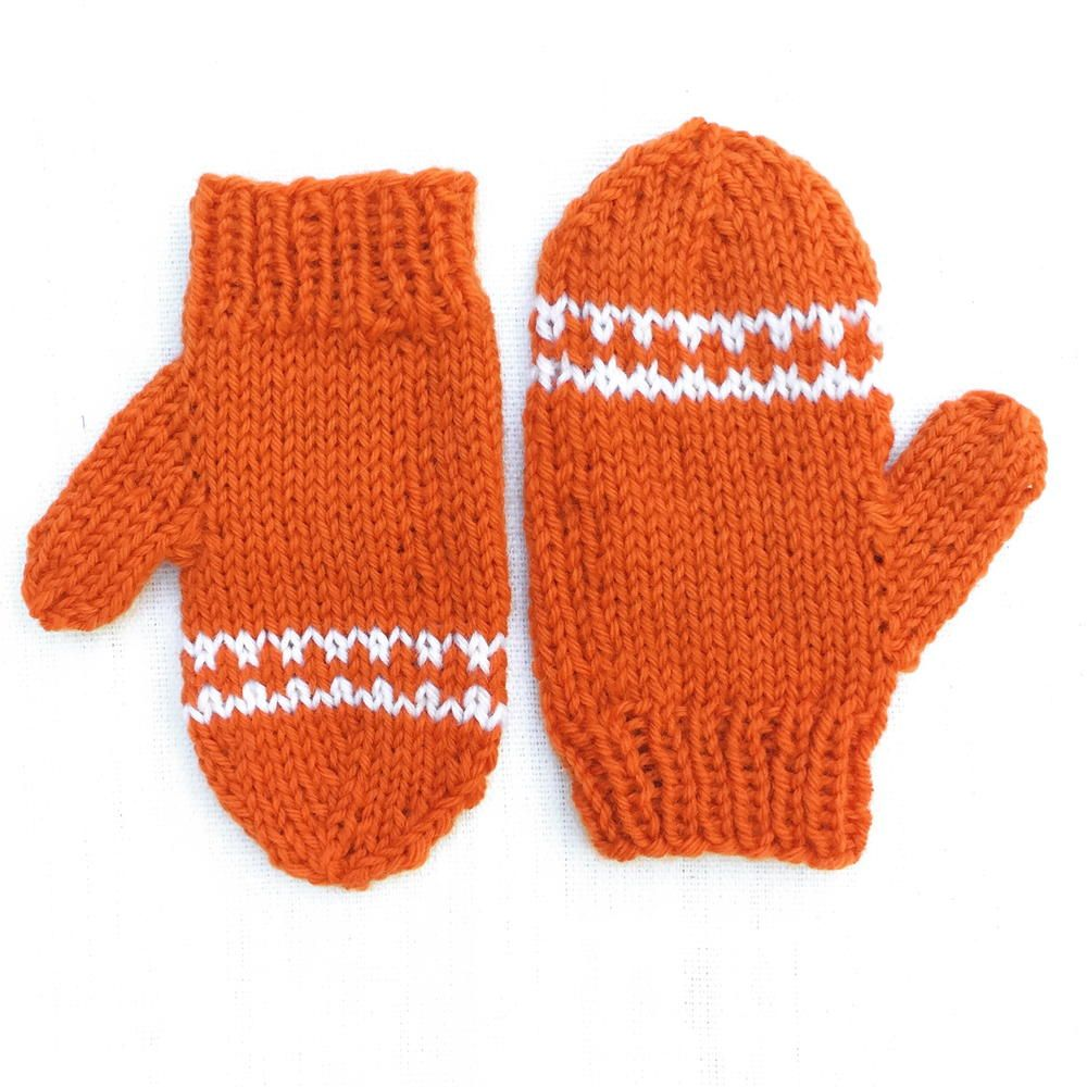 Orange Striped Toddler Mittens | Toddler mittens, Knit mittens and ...