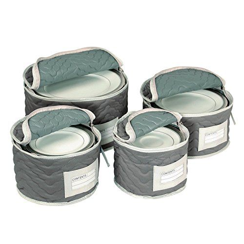 China Tea Cups And Plates Storage Set   Deluxe Quilted Microfiber U2013 Grey,  With Braidz Foam Padding | Plate Storage, Storage Sets And Tea Cup