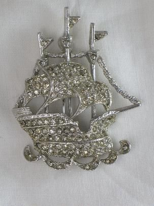 Signed ART Sailing Ship Brooch