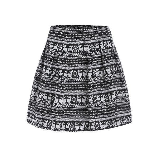 Black White Deer Tribal Print Flare Skirt 14 Liked On Polyvore Featuring Skirts