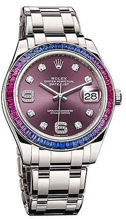 Rolex Datejust Red Grape Dial Sapphire Set Bezel 18K White Gold Pearlmaster Automatic Men's Watch 86349PUDPM #rolexwatches