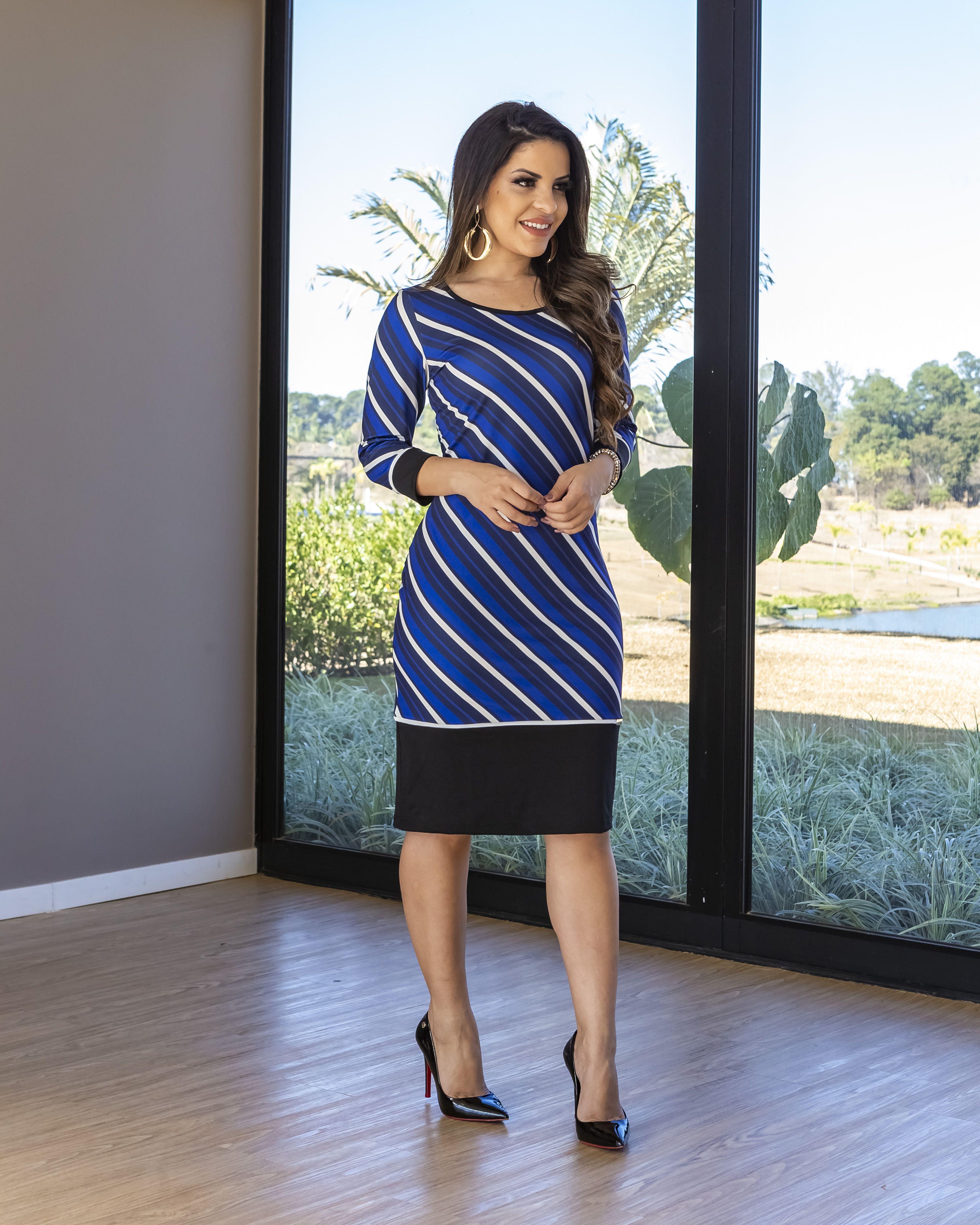 fbee55306468 Vestido com Listras Suplex | PAOLA SANTANA em 2019 | Moda, Moda ...