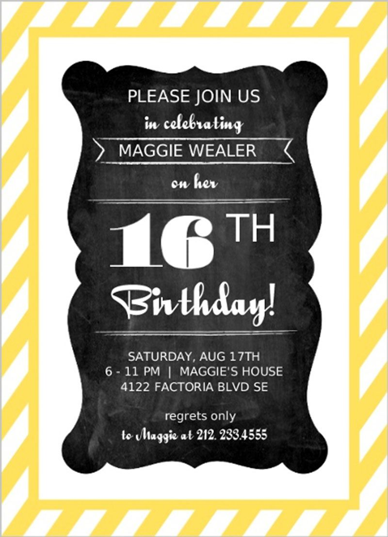 yellow striped chalkboard frame sweet sixteen birthday invitation