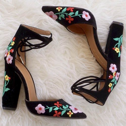 Flower embroidered chunky pointy heels httpmyshoebazar flower embroidered chunky pointy heels httpmyshoebazarproduct ccuart Image collections