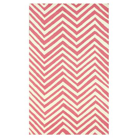 Anchor your dining set or living room seating group in chic style with this hand-hooked wool rug, showcasing a chevron motif in pink.  ...