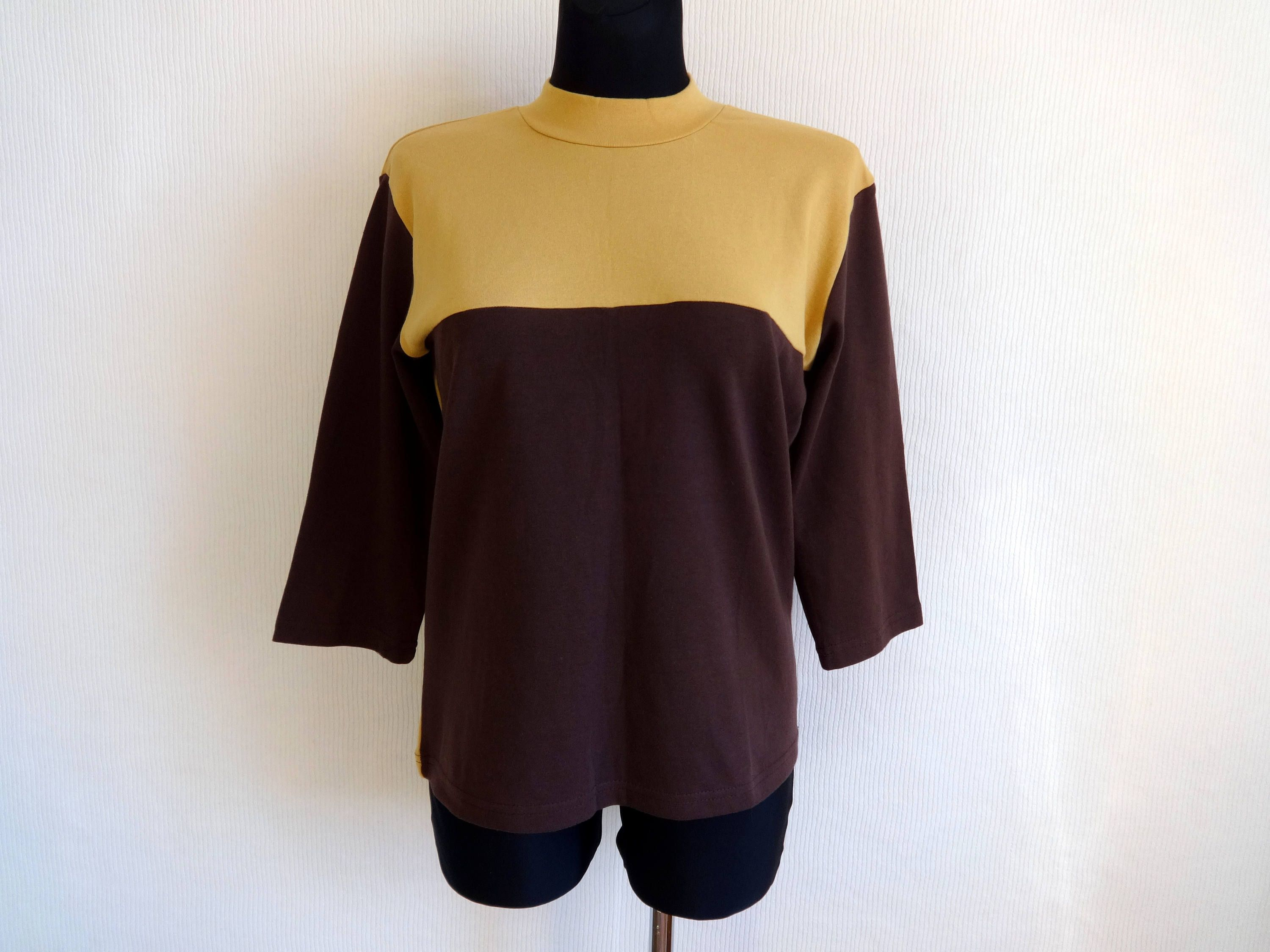 9fb90f30a62a Vintage Brown & Yellow Cotton Jersey Shirt 25 Print On The Back 3/4 Sleeve  Shirt Unisex Clothing XL Sweatshirt Free Time Clothing by Vintageby2sisters  on ...