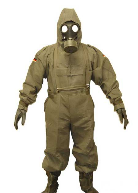 New German 5 Piece Chemical Suit Hazmat Suit Military Suit Gas Mask