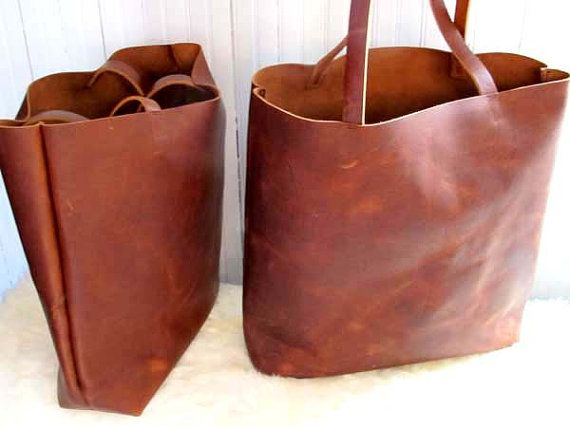 Brown Leather Tote Bag - brown leather bag - large brown tote ...