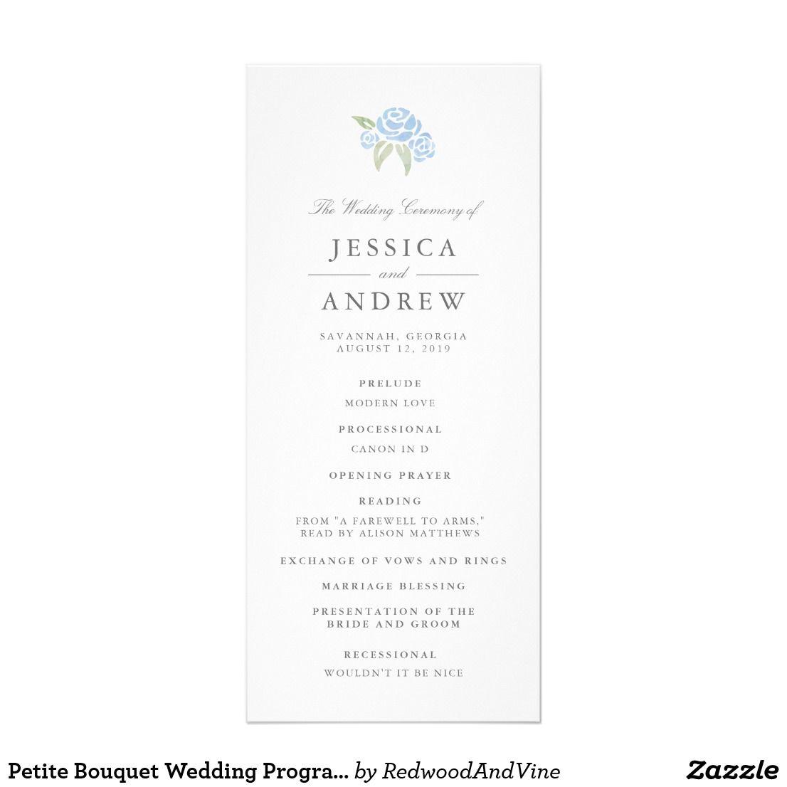 Petite Bouquet Wedding Program | Cornflower Blue | Wedding programs ...