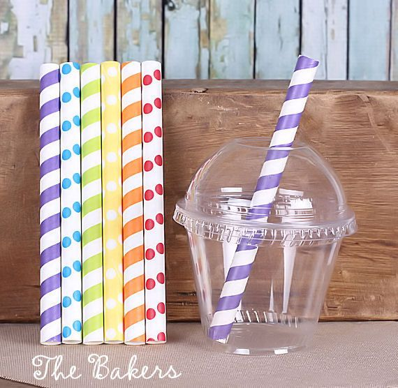"""How fun is this """"boys rainbow"""" jumbo short paper straw with cups and lids set! The eco-friendly """"greenware"""" crystal clear squat 9 oz drink cups with domed lids with hole are the perfect size for party"""