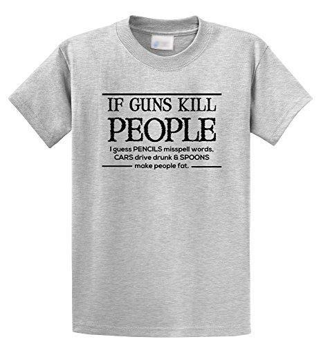 34b1815586 Comical Shirt Men's If Guns Kill People Pencils Misspell Words. Funny Ash  Grey S