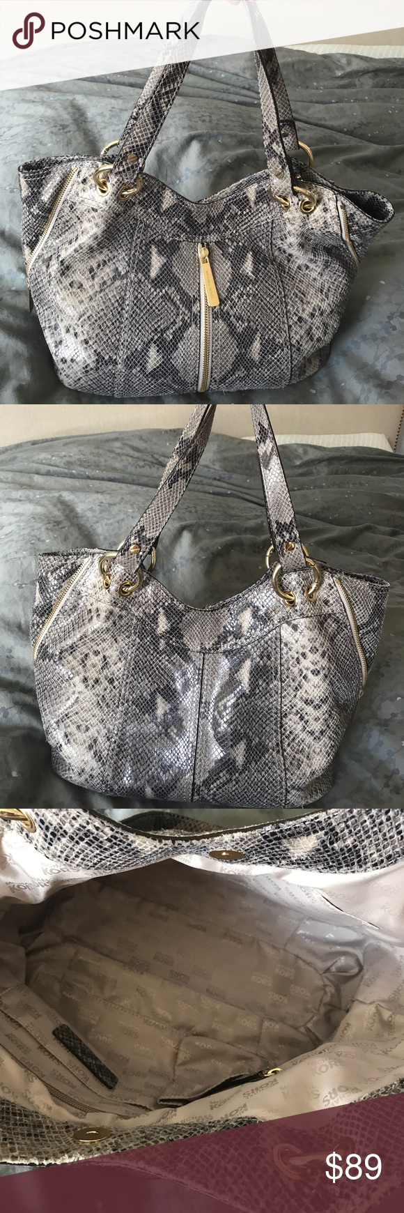 """Michael Kors snakeskin tote bag Gray python tote with gold hardware. Stylish zippers on the front and side. Roomy interior. Gently used. Dimensions are at bottom of bag: 13"""" x  10.5 x  3"""". Michael Kors Bags Totes"""