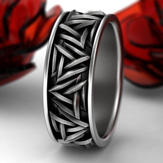 Sterling Silver Valknut Knot Ring, Interlocking Triangles Ring, Odin Rune Jewlery, Norse Ring, Viking Rune Ring, Jewelry Custom Size 1186