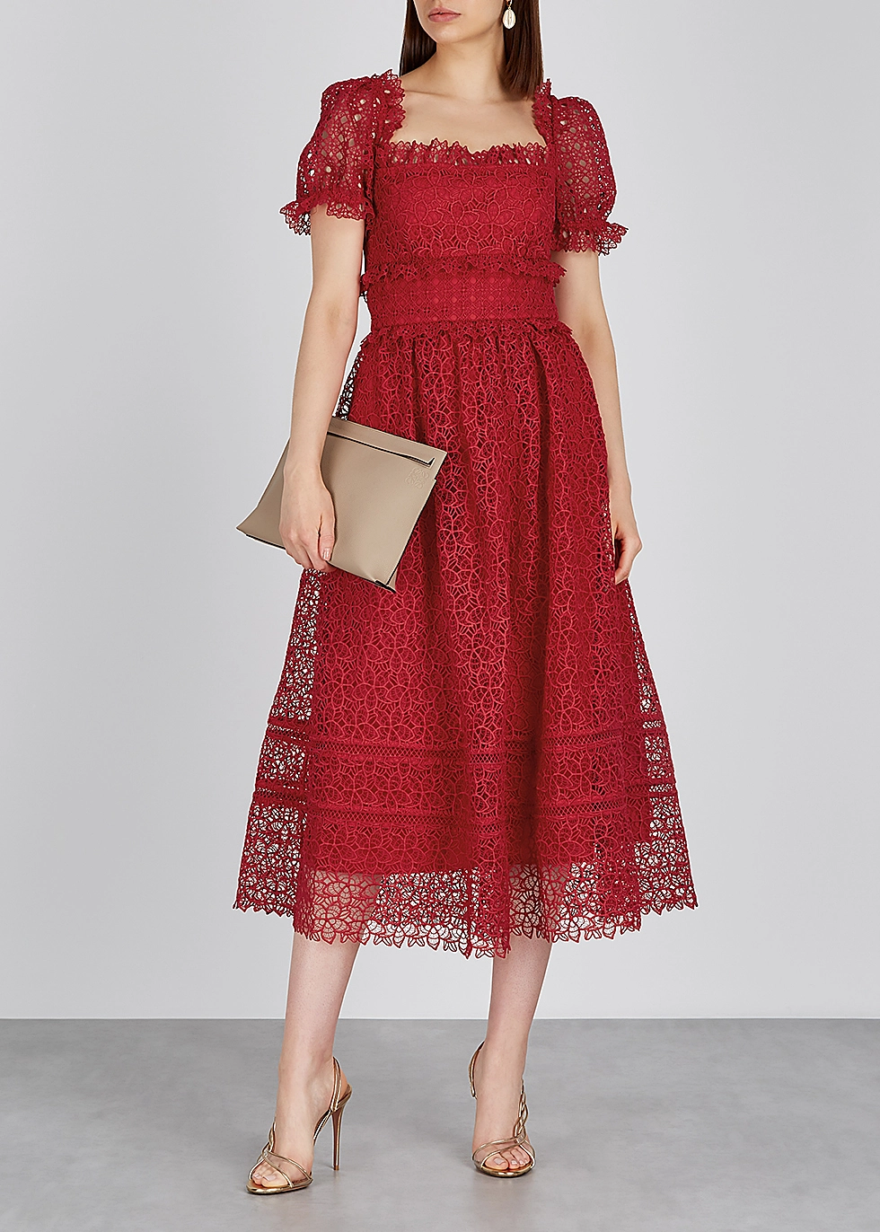 Self Portrait Guipure Red Lace Midi Dress Harvey Nichols Lace Summer Dresses Red Lace Midi Dress Lace Fashion [ 1372 x 980 Pixel ]