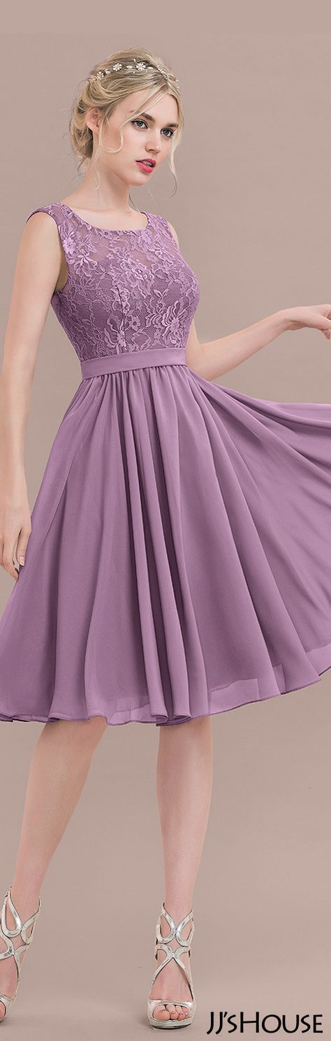 A-Line/Princess Square Neckline Knee-Length Chiffon Lace Bridesmaid ...