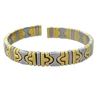 Bvlgari Bulgari Parentesi 18k Gold Stainless Steel Cuff Bracelet