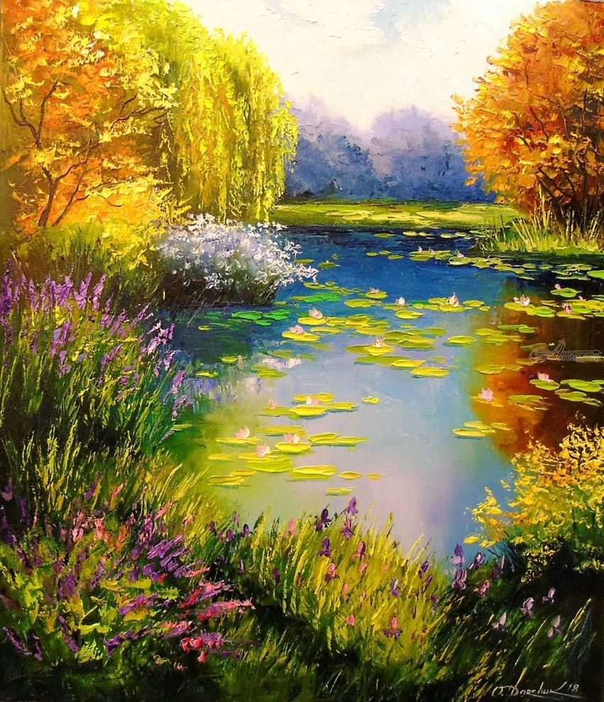 Blooming Pond Paintings Expressionism Fine Art Impressionism Romanticism Botanical Floral Nature Landscape Paintings Pond Painting Oil Painting Nature