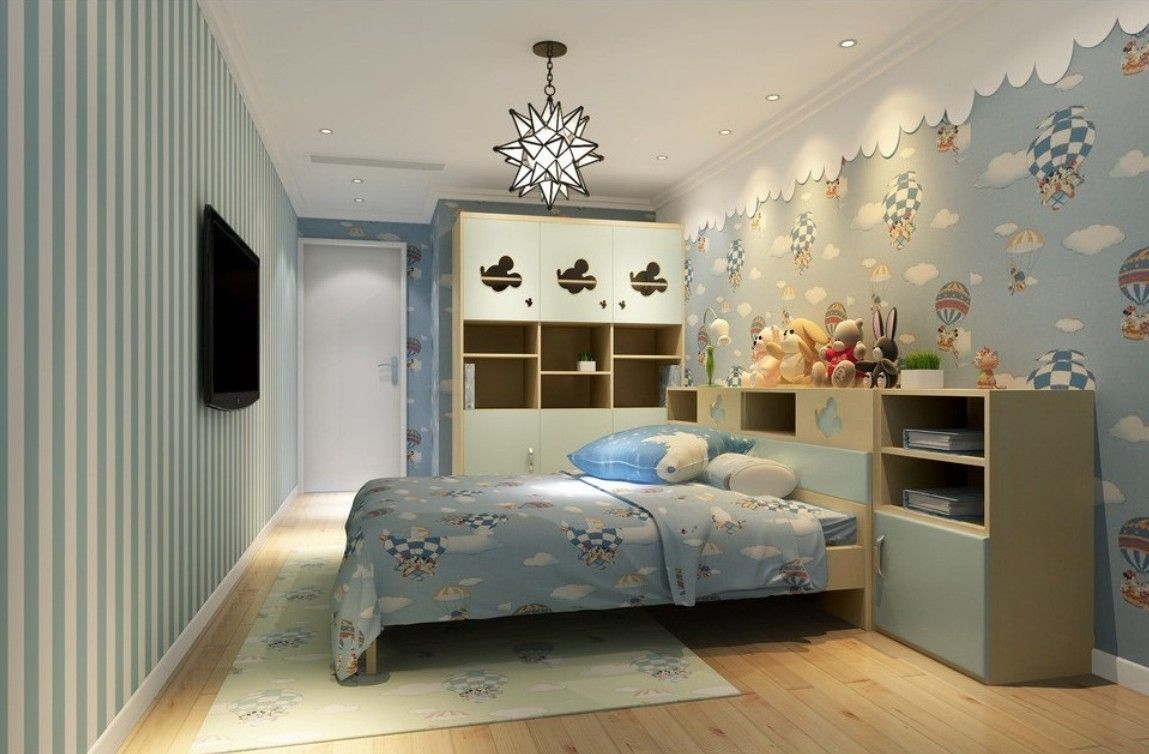Beauty Children Bedroom Interior With False Ceiling Lamps Design