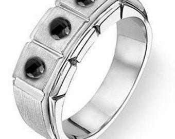 Mens Gift, Mens Ring, Mens Wedding Ring, Black Diamond Ring, Mens Engagement Ring, Gift For Men, Mens Jewelry, 0.36 Ct. Black Diamond  Ring