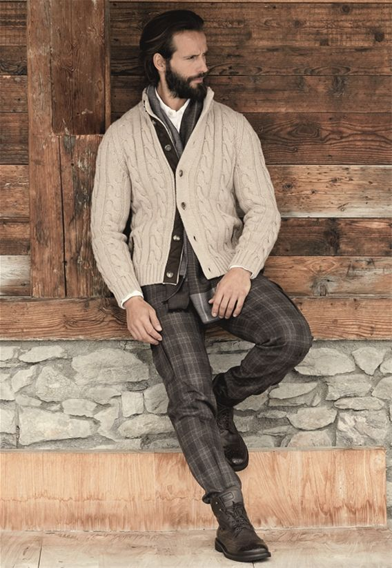 Pal Zileri FW 2013-14 Beige wool and cachemire cardigan, cargo trouser, brown check effect and beige sporty shirt