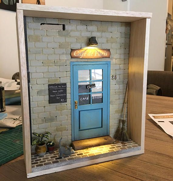 1:12 Scale Handmade Shadow Box French Coffee Shop Front Miniature Diorama incl accessories #miniaturetoys