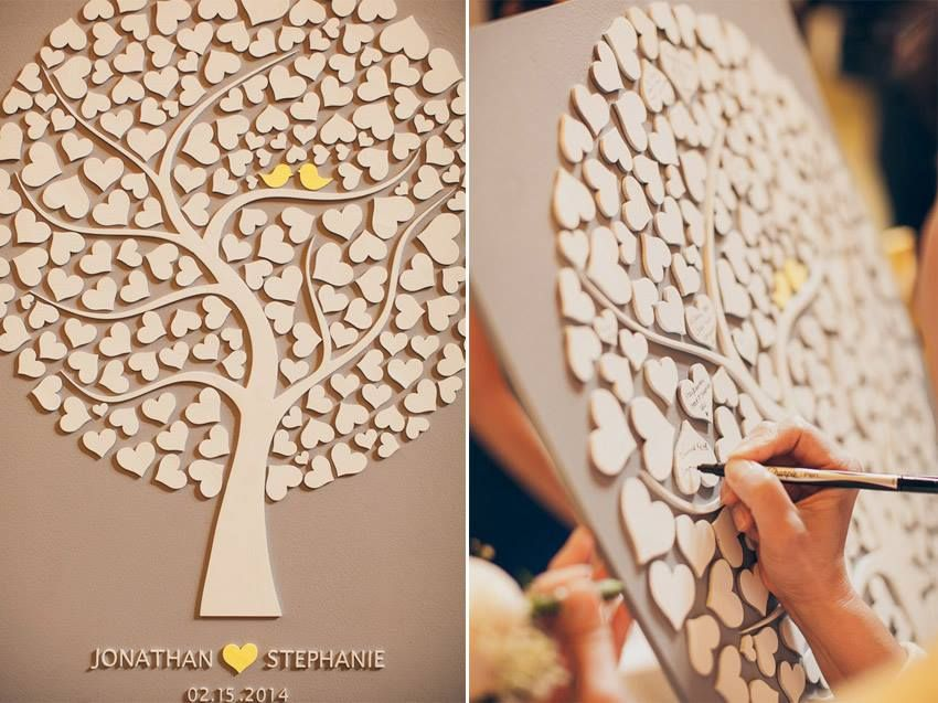 3D Wedding Guest Book Alternative Tree Wood Rustic Guestbook Gift Of Hearts Leaves