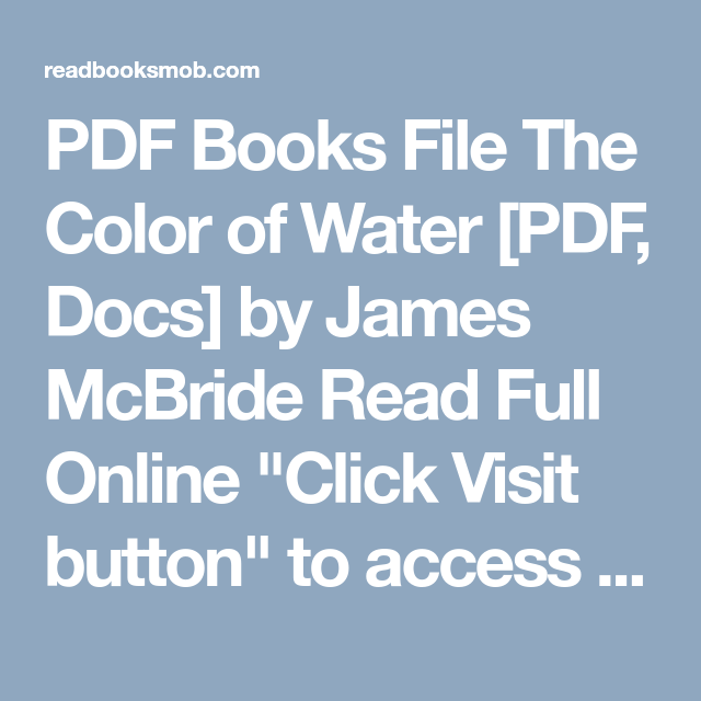 PDF Books File The Color of Water [PDF, Docs] by James McBride Read ...
