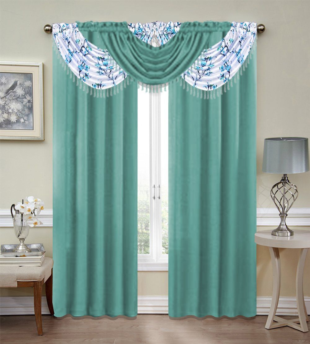 Misaki Emerald Crepe 5 Piece Complete Curtain Set Blue Blooming