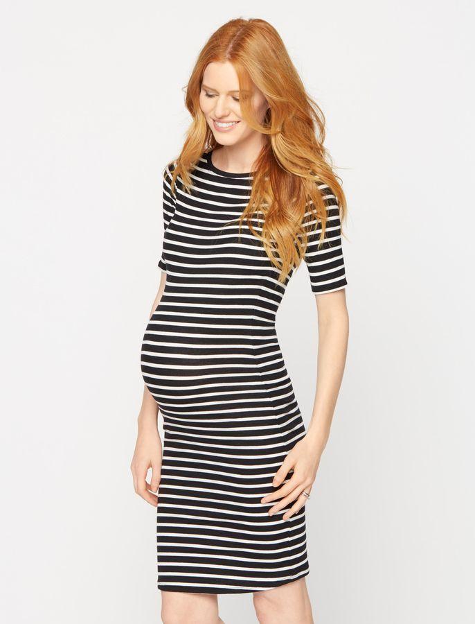 3bd4c936304 A Pea in the Pod Bcbgmaxazria Striped Short Sleeve Maternity Dress ...