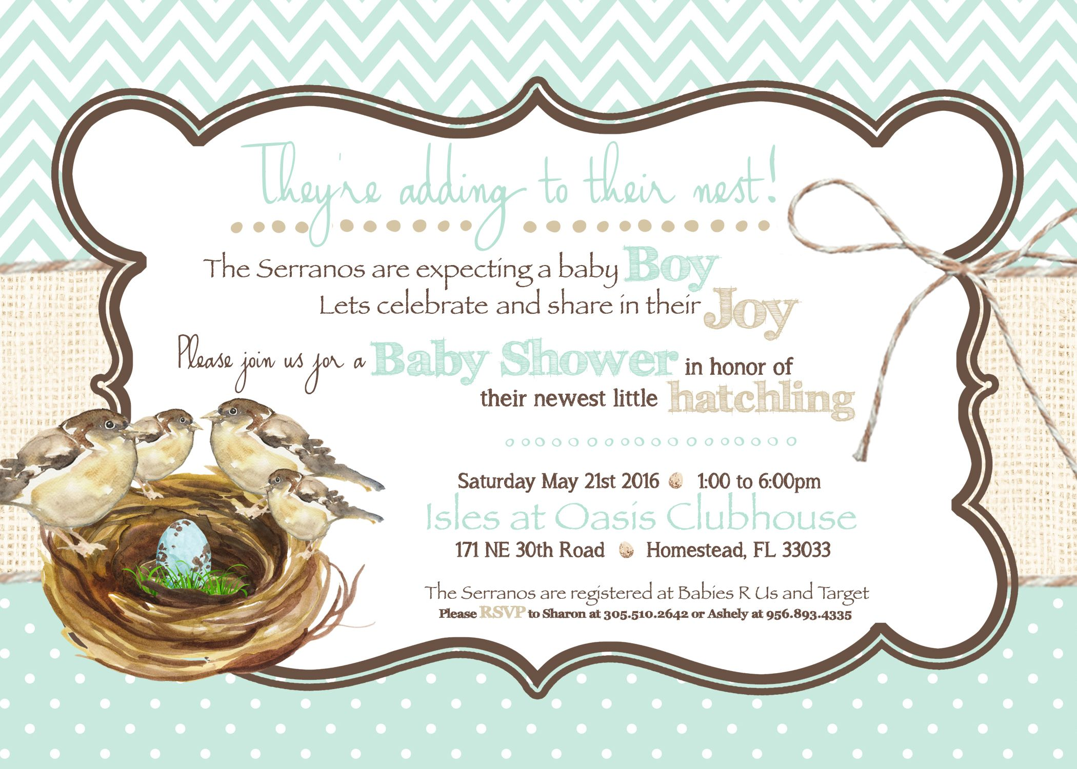 Growing Nest themed baby shower invitation- new baby, shower ...