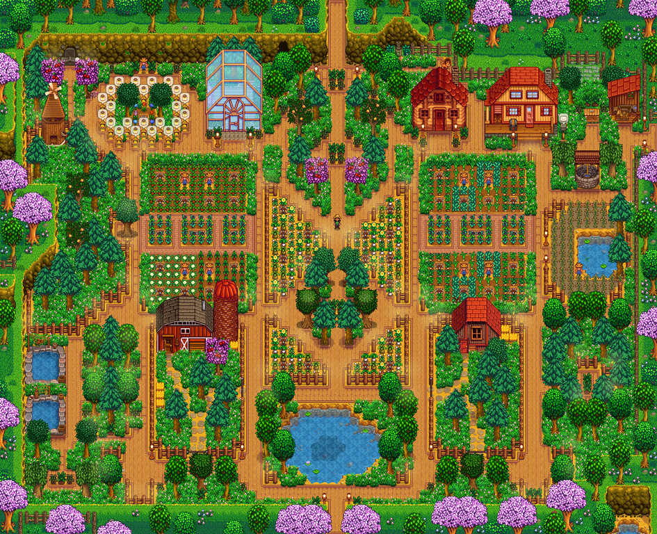 Aesthetic Standard Layout Really Happy With How It Turned Out D Farmsofstardewvalley Stardew Valley Stardew Valley Layout Stardew Valley Farms