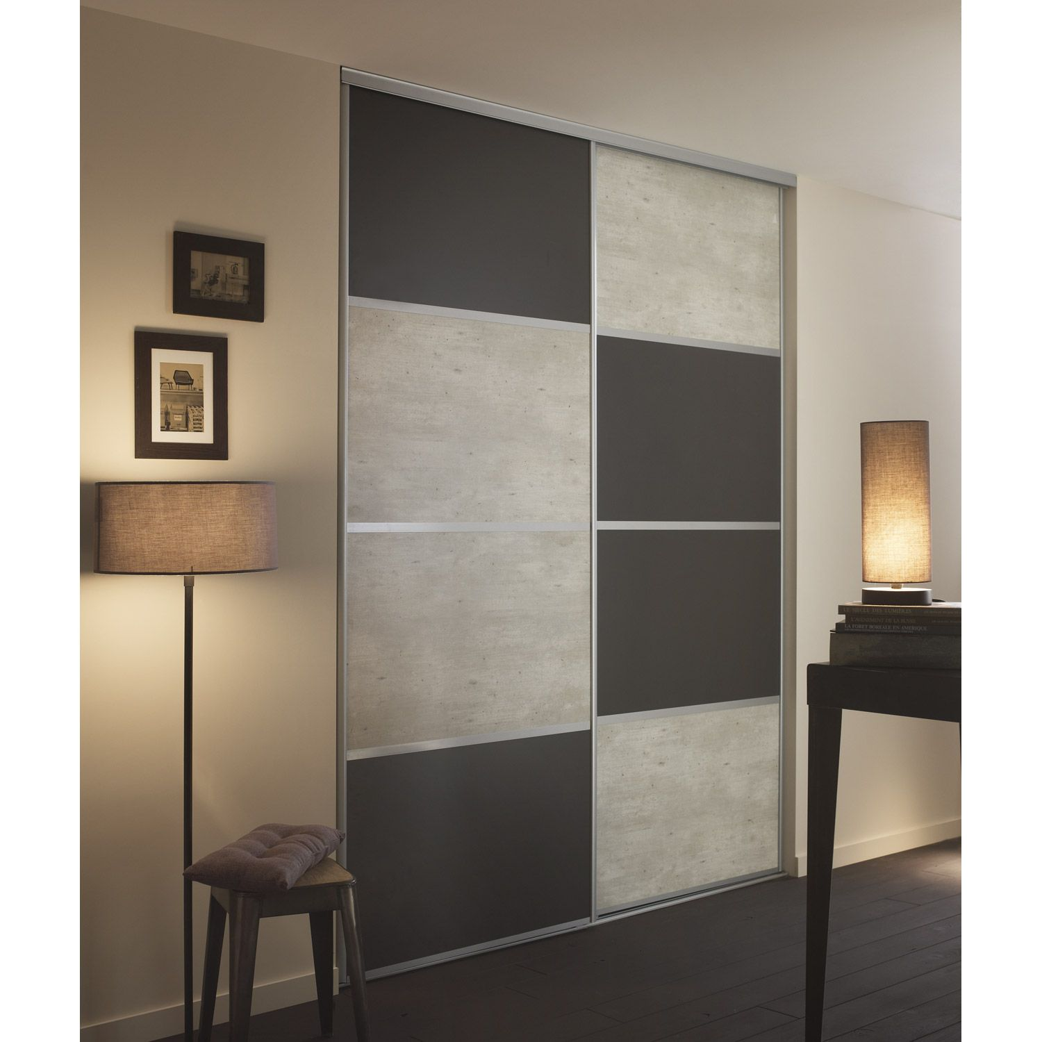 Lot De 2 Panneaux Blanc Gris Fonce Spaceo In 2020 Wardrobe Design Bedroom Cupboard Design Sliding Wardrobe Doors