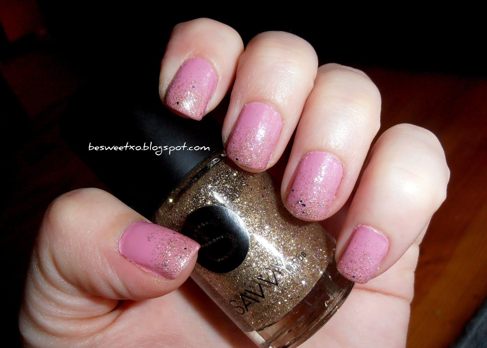 gold glitter tips on pink nails