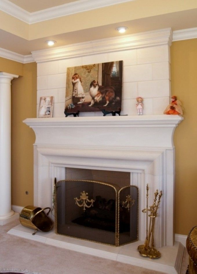 Superb Chic Recessed Lighting Also Luxurious White Fireplace Mantel And Surround  Plus Wall Painting Decor With Glass Screen Idea