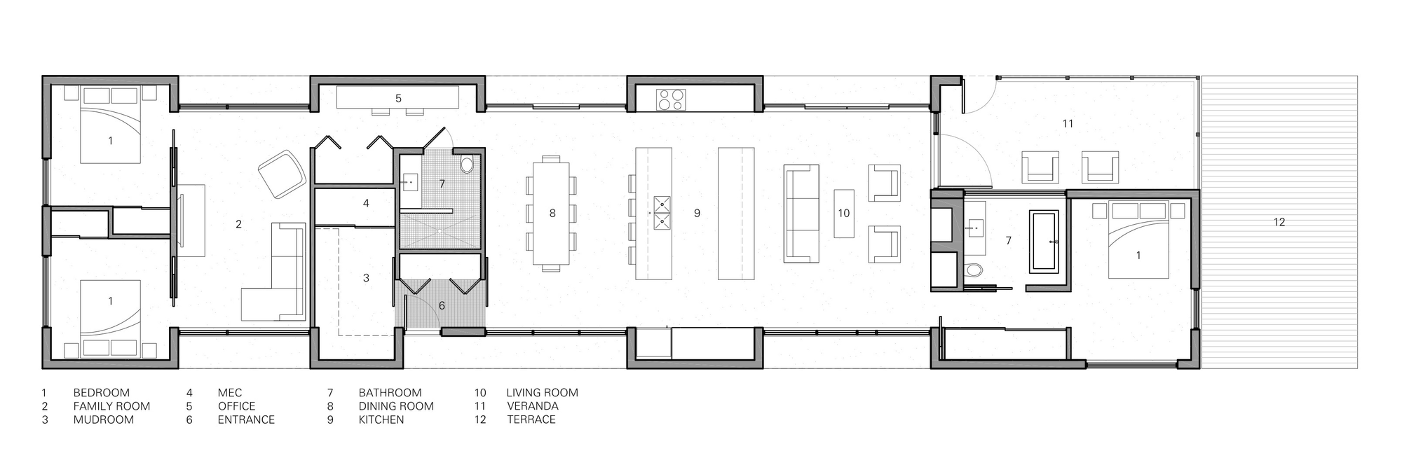 Simple linear concept organized around the central living space ...