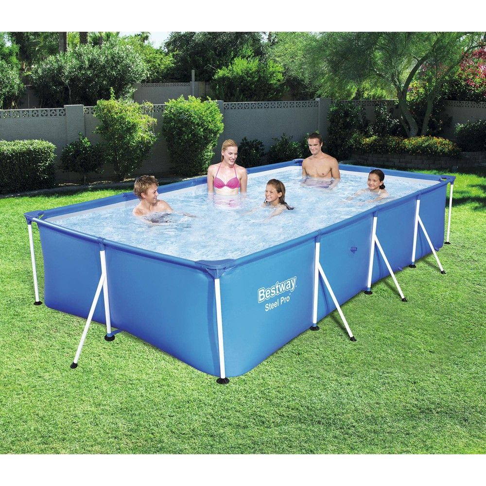 Bestway Steel Pro 157 X 83 X 32 Rectangular Frame Above Ground Swimming Pool Above Ground Swimming Pools Best Above Ground Pool Backyard Pool Landscaping
