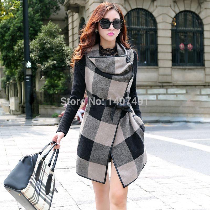 2d8f5a34825d Avec ceinture de style coréen automne de nouvelles femmes hiver poche.  minces. patchwork plaid manteau long dans de sur Aliexpress.com