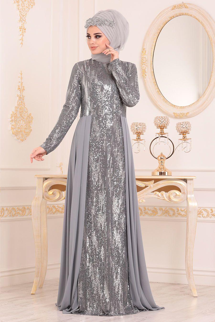 Nayla Collection Pul Payetli Gri Tesettur Abiye Elbise 25740gr Tesetturisland Com Elbise Moda Stilleri The Dress