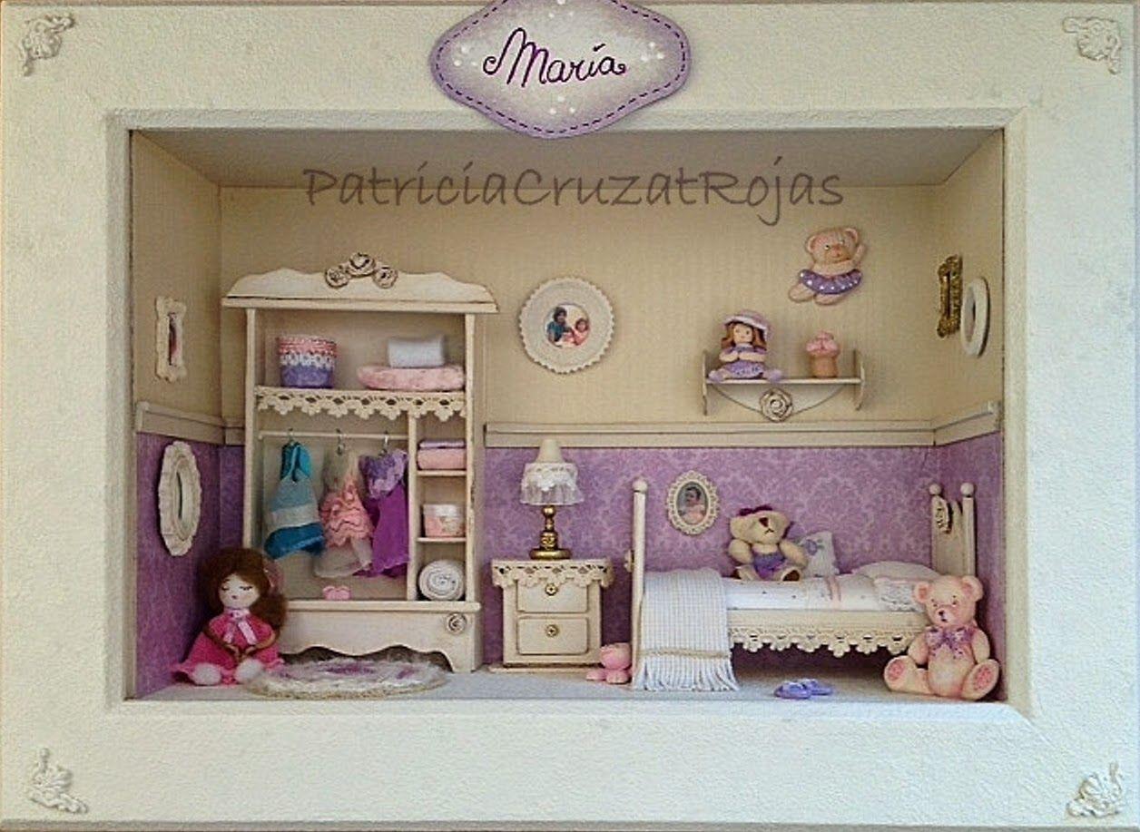 Patricia Cruzat Artesania y Color: Dormitorio de niña en un cuadro ...