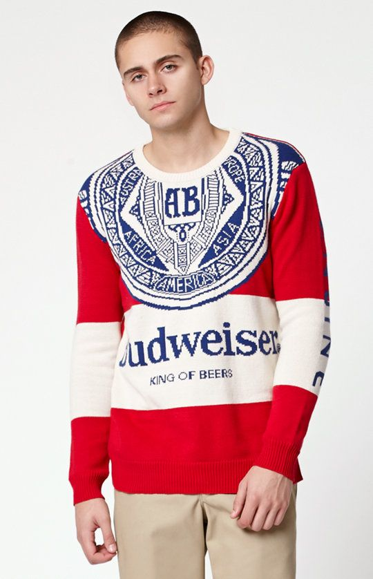 Junk Food Budweiser Sugar Crew Neck Sweater - White/red | Crew ...